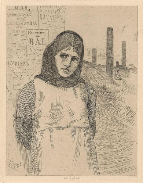 Félicien ROPS (Belgio, 1833 – 1898) – LA GREVE (PETITE PLANCHE)