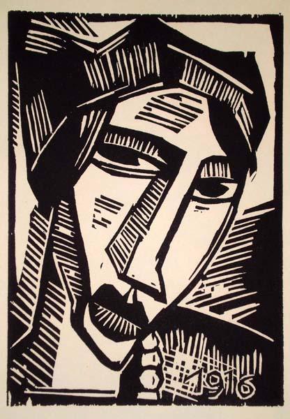 Karl SCHMIDT-ROTTLUFF (Germania, 1884 – 1976) – FRAUENKOPF (1916)