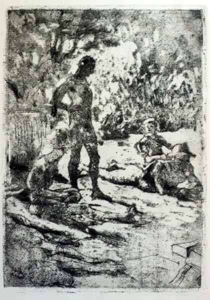 Max SLEVOGT (Germania, 1868 – 1932) – TRE UOMINI ED UN BIMBO (1922)