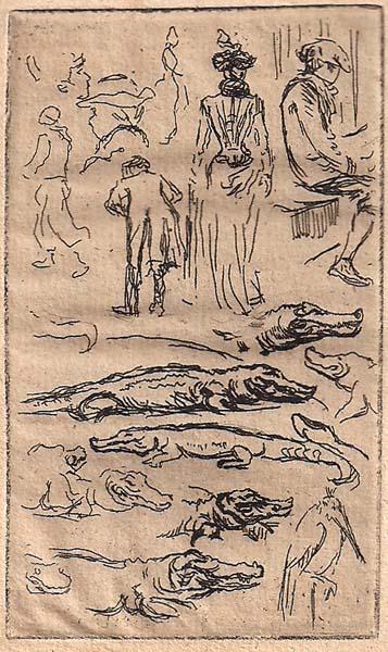 Henri SOMM (Francia, 1844 – 1907) – SCHIZZI CON COCCODRILLO (1899 circa)