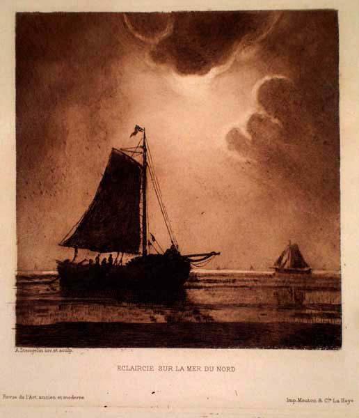 Alphonse STENGELIN (Francia, 1852 – 1930) – ECLAIRCIE SUR LA MER DU NORD