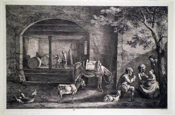 Jean Jacques DE BOISSIEU (Francia, 1736 – 1810) – INTERIEUR DE FERME (1793)