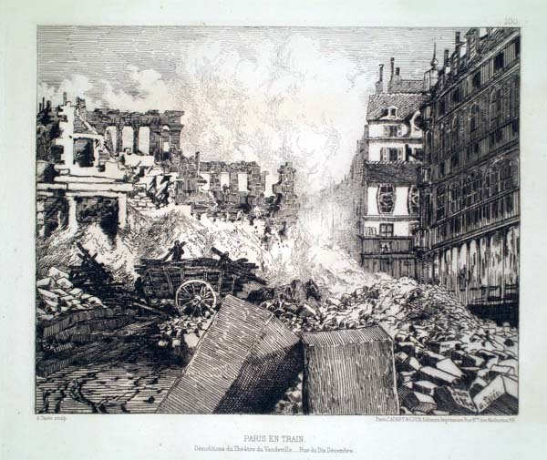 Alfred TAIEE (Francia, 1820 – 1880) – PARIS EN TRAIN. DEMOLITIONS DU THEATRE DU VAUDEVILLE