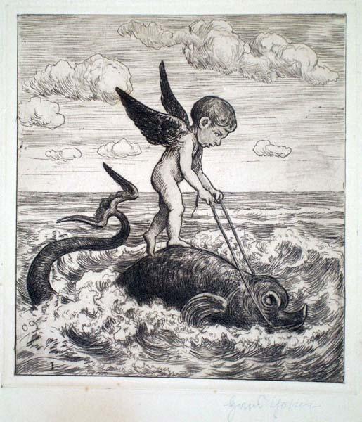 Hans THOMA (Germania, 1839 – 1924) – AMORE SU UN DELFINO