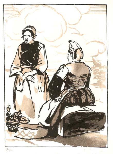 Savinienne TOURRETTE (Francia, inizi XX secolo) – BRETONNES AU MARCHE