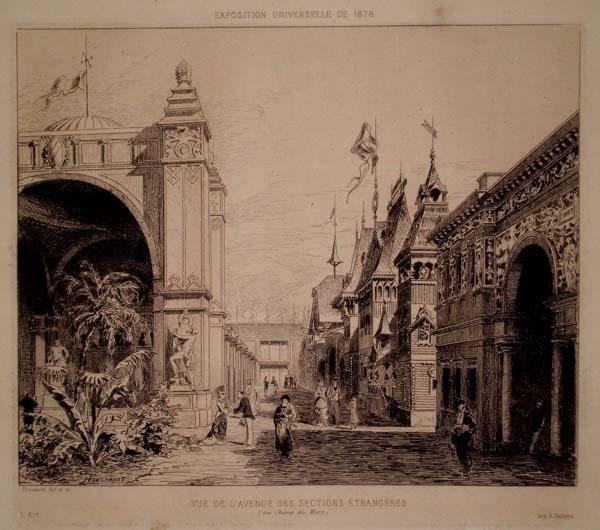 Charles-Henri TOUSSAINT (Francia, 1849 – 1911) – VUE DE L'AVENUE DES SECTIONS ETRANGERES