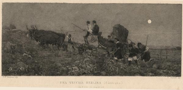 Celestino TURLETTI (Torino, 1845 – 1904) – UNA VECCHIA BERLINA da: Quadrone