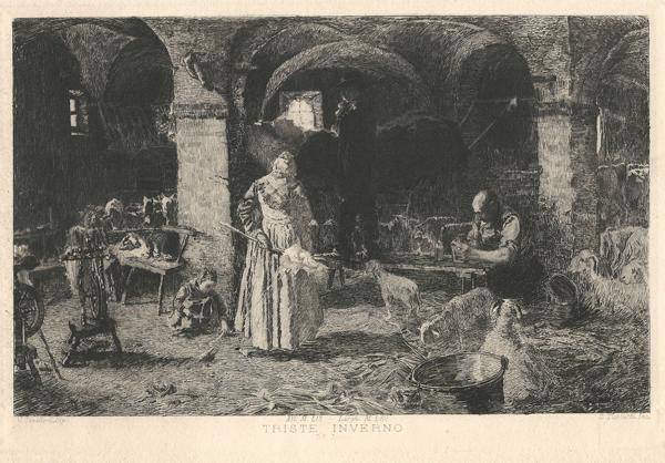 Celestino TURLETTI (Torino, 1845 – 1904) – TRISTE INVERNO da V. Cavalleri