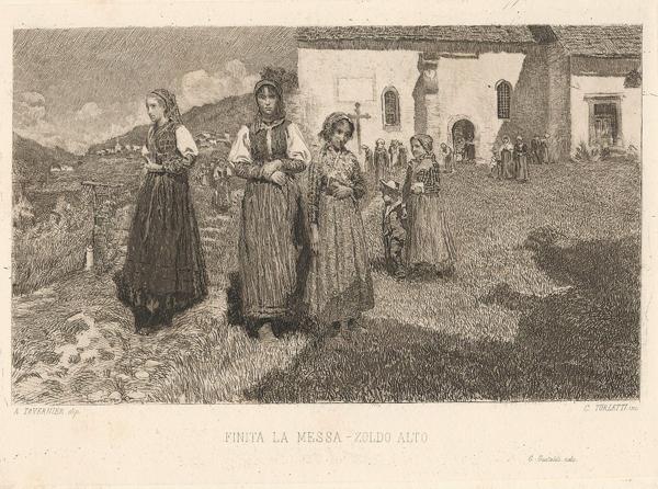 Celestino TURLETTI (Torino, 1845 – 1904) – FINITA LA MESSA – ZOLDO ALTO da A. Tavernier