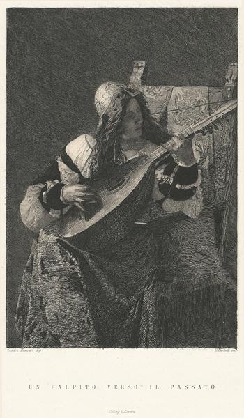 Celestino TURLETTI (Torino, 1845 – 1904) – UN PALPITO VERSO IL PASSATO da C. Maccari