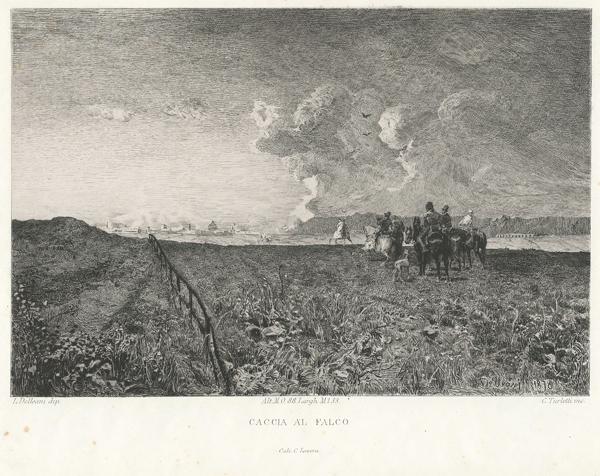 Celestino TURLETTI (Torino, 1845 – 1904) – CACCIA AL FALCO da Delleani