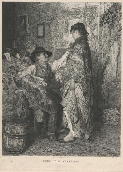 Celestino TURLETTI (Torino, 1845 – 1904) – ERBAJUOLO VENEZIANO da I. Favretto