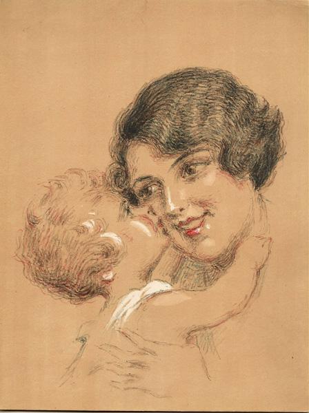 Henri VINCENT-ANGLADE (Francia, 1876 – 1956) – AMOUR MATERNELLE