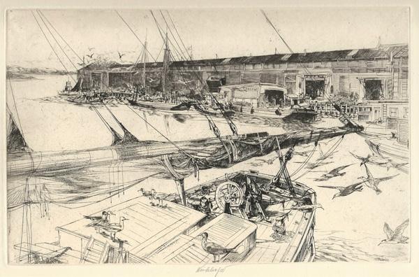 John W. WINKLER (Vienna, 1890 – 1979) – MAIN BOOM AND HAYSCHOONER. LARGE PLATE (1923)