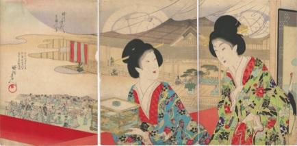 Hashimoto CHIKANOBU (Giappone, 1838 – 1912) – BELLEZZE AL TEATRO NO (1890/99)