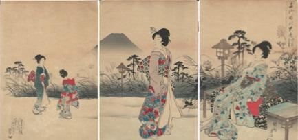 Hashimoto CHIKANOBU (Giappone, 1838 – 1912) – FUKIAGE NO YU-FUJI – IL MONTE FUJI VISTO DA FUKIJAGE LA SERA