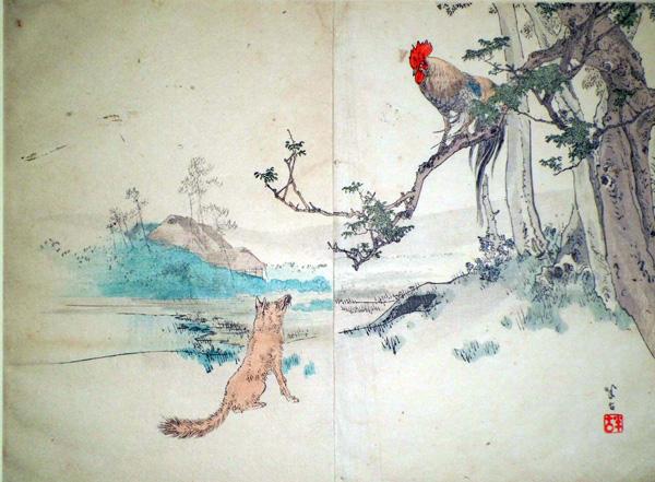 Kajita HANKO (Giappone, 1870 – 1919) – IL GALLO E LA VOLPE