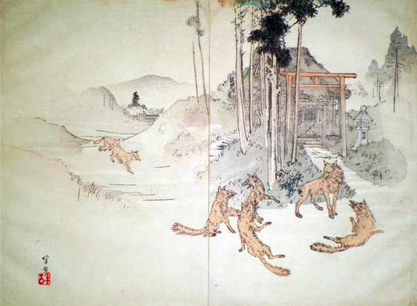 Kajita HANKO (Giappone, 1870 – 1919) – LA VOLPE DALLA CODA MOZZA