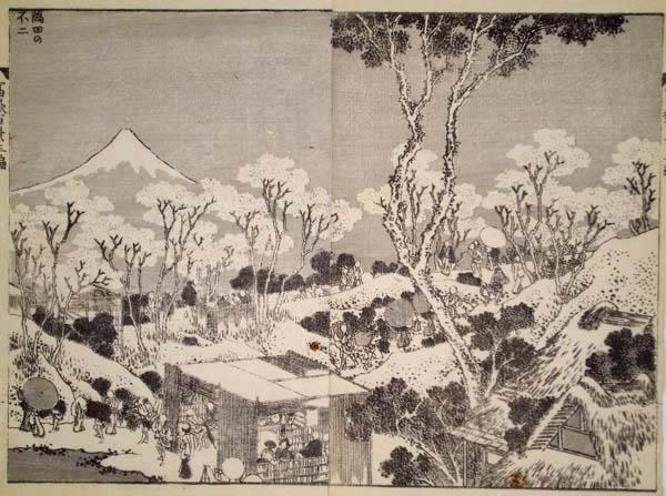 Katsushika HOKUSAI (Giappone, 1760 – 1849) – IL FUJI DAL FIUME SUMIDA