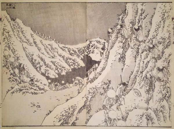 Katsushika HOKUSAI (Giappone, 1760 – 1849) – INTORNO AL CRATERE DEL FUJI