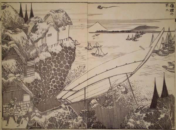 Katsushika HOKUSAI (Giappone, 1760 – 1849) – IL FUJI COL FUOCO D'ARTIFICIO (Roen no Fuji) (1760) – HOKUSAI Katsushika