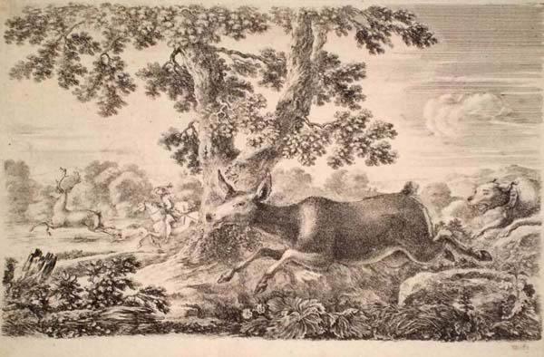 Stefano DELLA BELLA (Firenze, 1610 – 1664) – DAINO CHE CORRE A SINISTRA