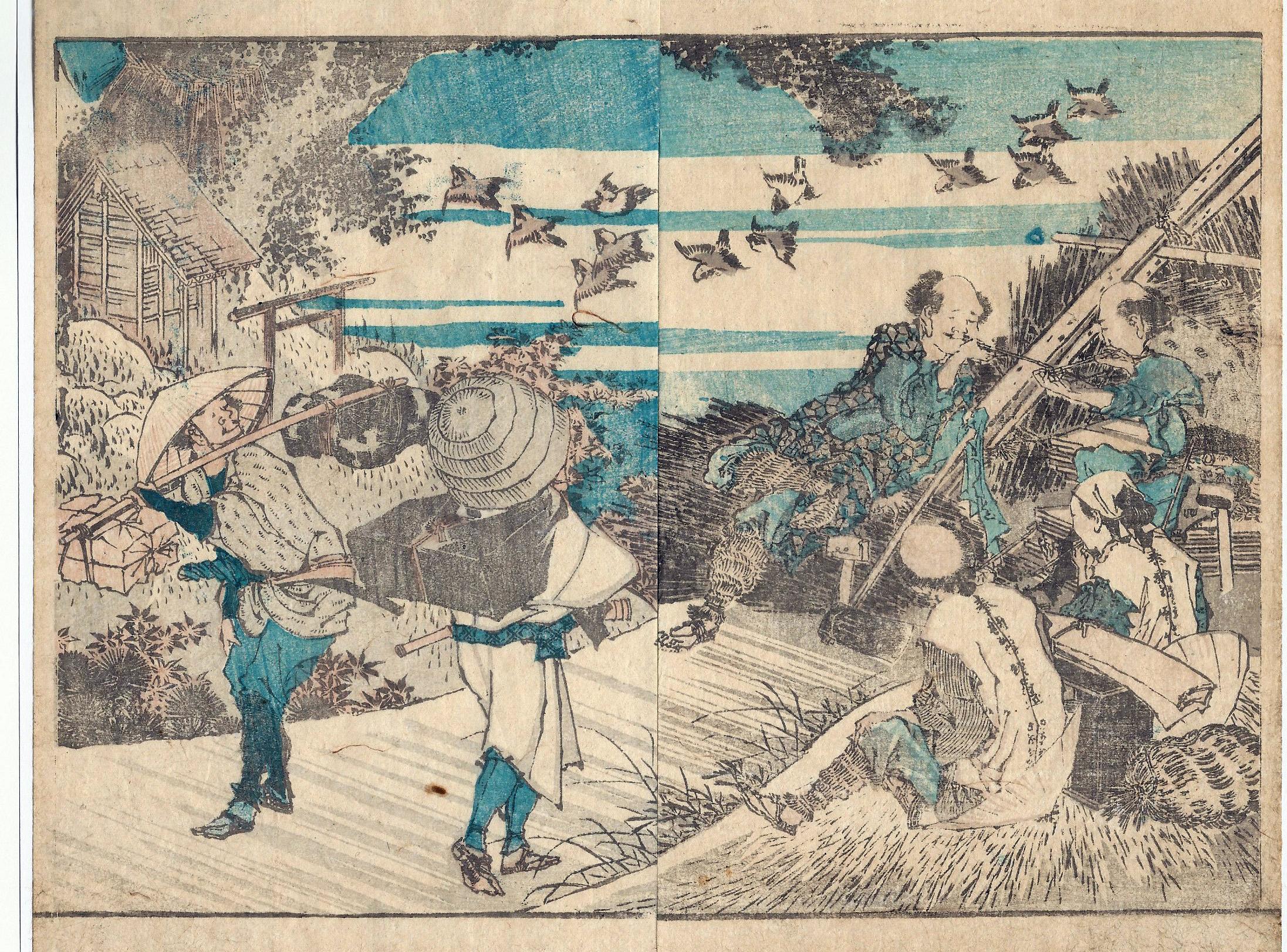 Katsushika HOKUSAI (Giappone, 1760 – 1849) – IL RIPOSO DEI CONTADINI