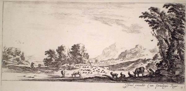 Stefano DELLA BELLA (Firenze, 1610 – 1664) – PASTORA CHE FILA GUARDANDO IL GREGGE