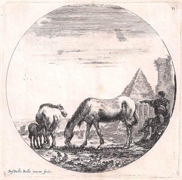 Stefano DELLA BELLA (Firenze, 1610 – 1664) – PIRAMIDE DI CAIO CESTIO