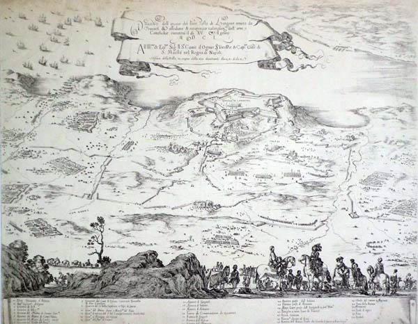 Stefano DELLA BELLA (Firenze, 1610 – 1664) – PIANTA DELLA FORTEZZA DI PORTO LONGONE PRESA DAGLI SPAGNOLI NEL 1650 (1650)