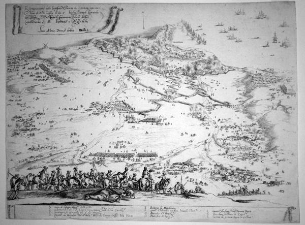 Stefano DELLA BELLA (Firenze, 1610 – 1664) – PIANTA DELL'ASSEDIO DI PIOMBINO NEL 1650 (1650)