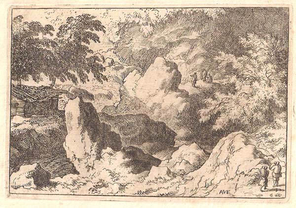 Allart Van EVERDINGEN (Olanda, 1621 – 1675) – TRE UOMINI SU DI UNA ROCCIA