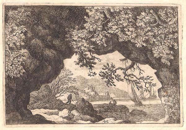 Allart Van EVERDINGEN (Olanda, 1621 – 1675) – MARINA ATTRAVERSO LA ROCCIA FORATA