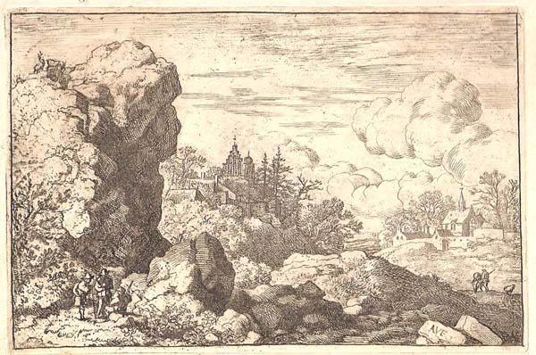 Allart Van EVERDINGEN (Olanda, 1621 – 1675) – I TRE VIAGGIATORI AI PIEDI DI UNA GRANDE ROCCIA