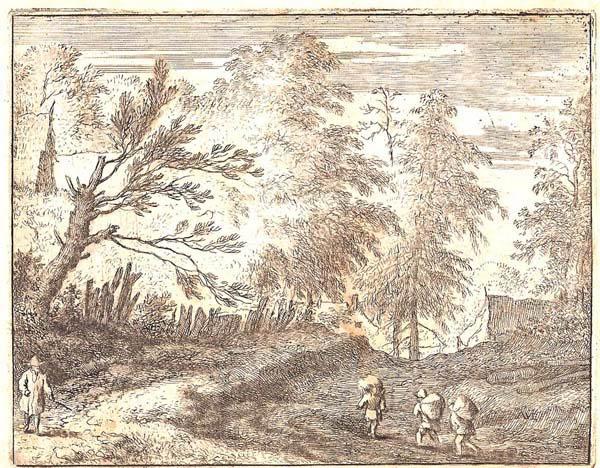 Allart Van EVERDINGEN (Olanda, 1621 – 1675) – PAESAGGIO CON TRE UOMINI CARICHI