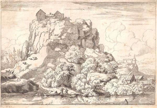 Allart Van EVERDINGEN (Olanda, 1621 – 1675) – IL FIUME SOTTO ALLA GRANDE ROCCIA