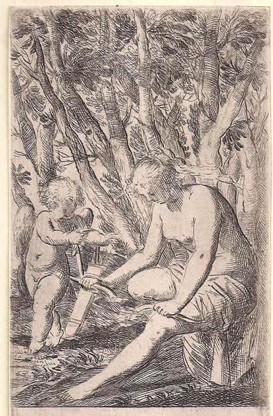 Odoardo FIALETTI (Bologna, 1573 – 1638) – VENERE ROMPE SOTTO UN GINOCCHIO L'ARCO DI CUPIDO