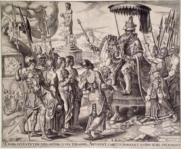 Philip GALLE (Olanda, 1537 – 1612) – I TRE GIOVANI EBREI DAVANTI A NABUCODONOSOR