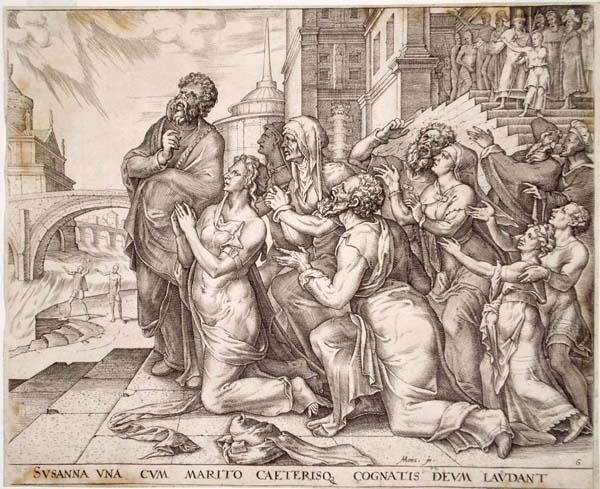 Philip GALLE (Olanda, 1537 – 1612) – SUSANNA ED I PARENTI