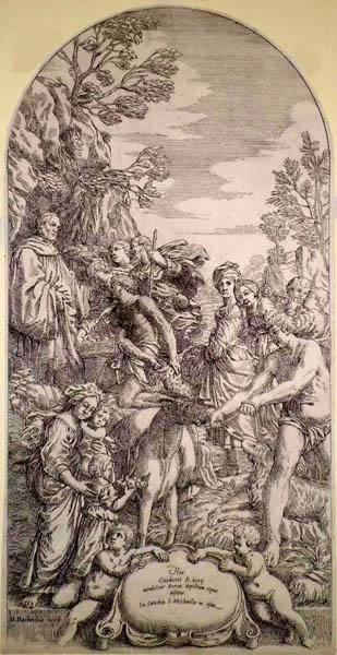 Matteo BARBONI (Bologna, c.a 1610 – c.a 1660) – SAN BENEDETTO RICEVE I DONI da Guido Reni