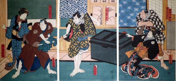 Utagawa KUNISADA (Giappone, 1786 – 1864) – SCENA DEL TEATRO KABUKI (1852)