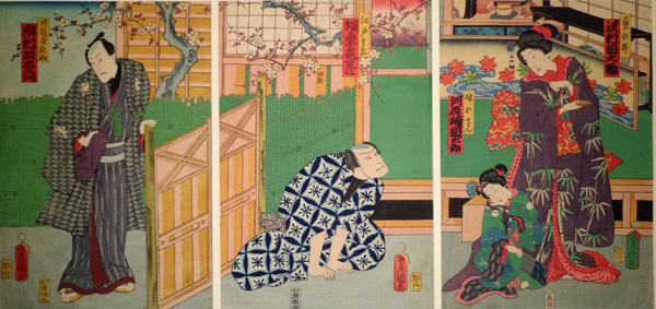 Utagawa KUNISADA (Giappone, 1786 – 1864) – GLI ATTORI ICHIMURA UZAEMON, BANDO KAMEZO, KAWARAZAKI KUNTARO E SAWAMURA TANOSUKE III (1861)