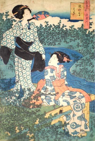 SADAHIDE (1807 – circa 1879) – DONNA CON KIMONO DECORATO CON FARFALLE