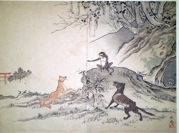 Okakura SHUSUI (attivo fine XIX secolo) – IL LUPO E LA VOLPE DAVANTI AL TRIBUNALE DELLA SCIMMIA