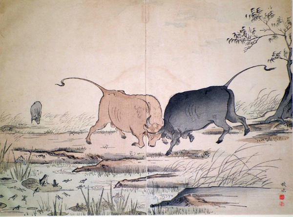 Okakura SHUSUI (attivo fine XIX secolo) – I DUE TORI E LA RANA