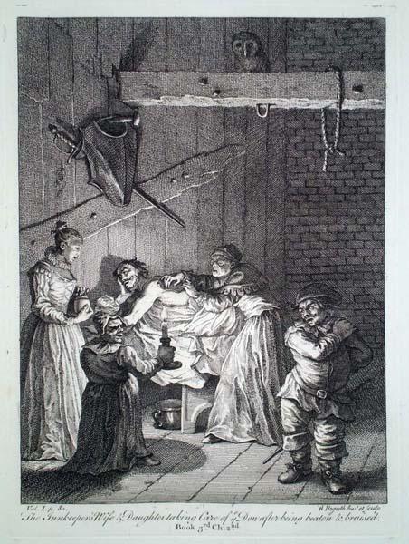 William HOGARTH (Gran Bretagna, 1697 – 1764) – DON CHISCIOTTE CURATO DALLA MOGLIE E DALLA FIGLIA DEL TAVERNIERE
