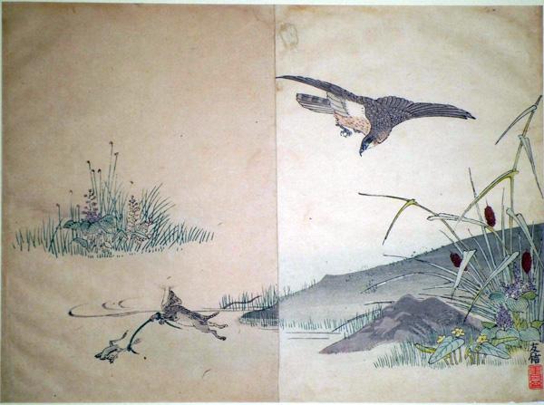 Kano TOMONOBU (attivo fine XIX – inizi XX secolo) – LA RANA E IL TOPO
