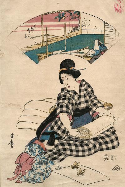 Ipposai YOSHIFUJI (1828 – 1887) – BAMBINA CHE GIOCA CON DEI KAIKO (1857)