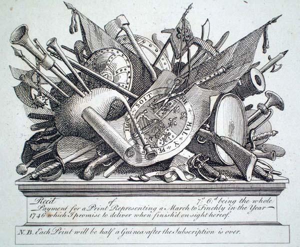 William HOGARTH (Gran Bretagna, 1697 – 1764) – GRUPPO DI ARMI E STRUMENTI MUSICALI (1749-50)