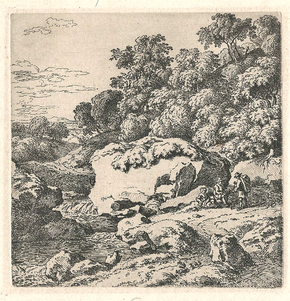 Ferdinand KOBELL (Germania, 1740 – 1799) – VIANDANTI SI RIPOSANO ACCANTO AD UN MASSO